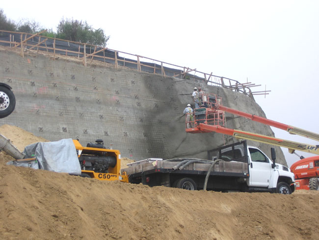 Retaining Wall Construction with Shotcrete